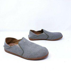 Olukai Women's Size 9 Waialua Gray Slip On Canvas